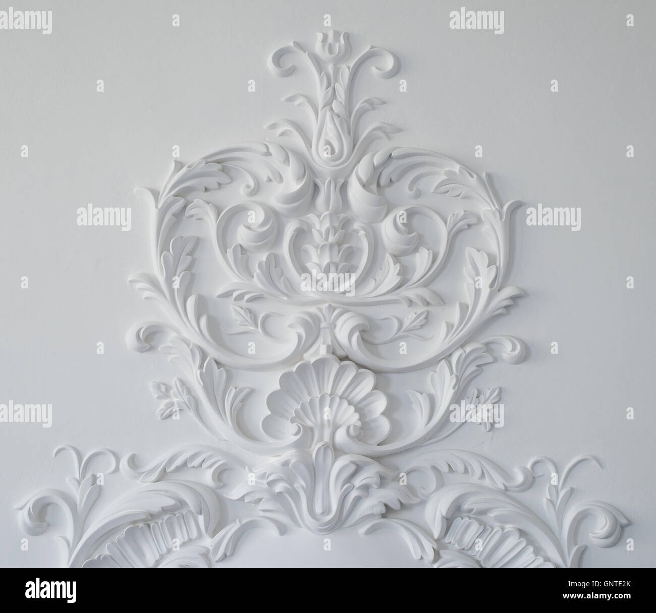 White wall molding with geometric shape and vanishing point. Horizontal - Stock Image