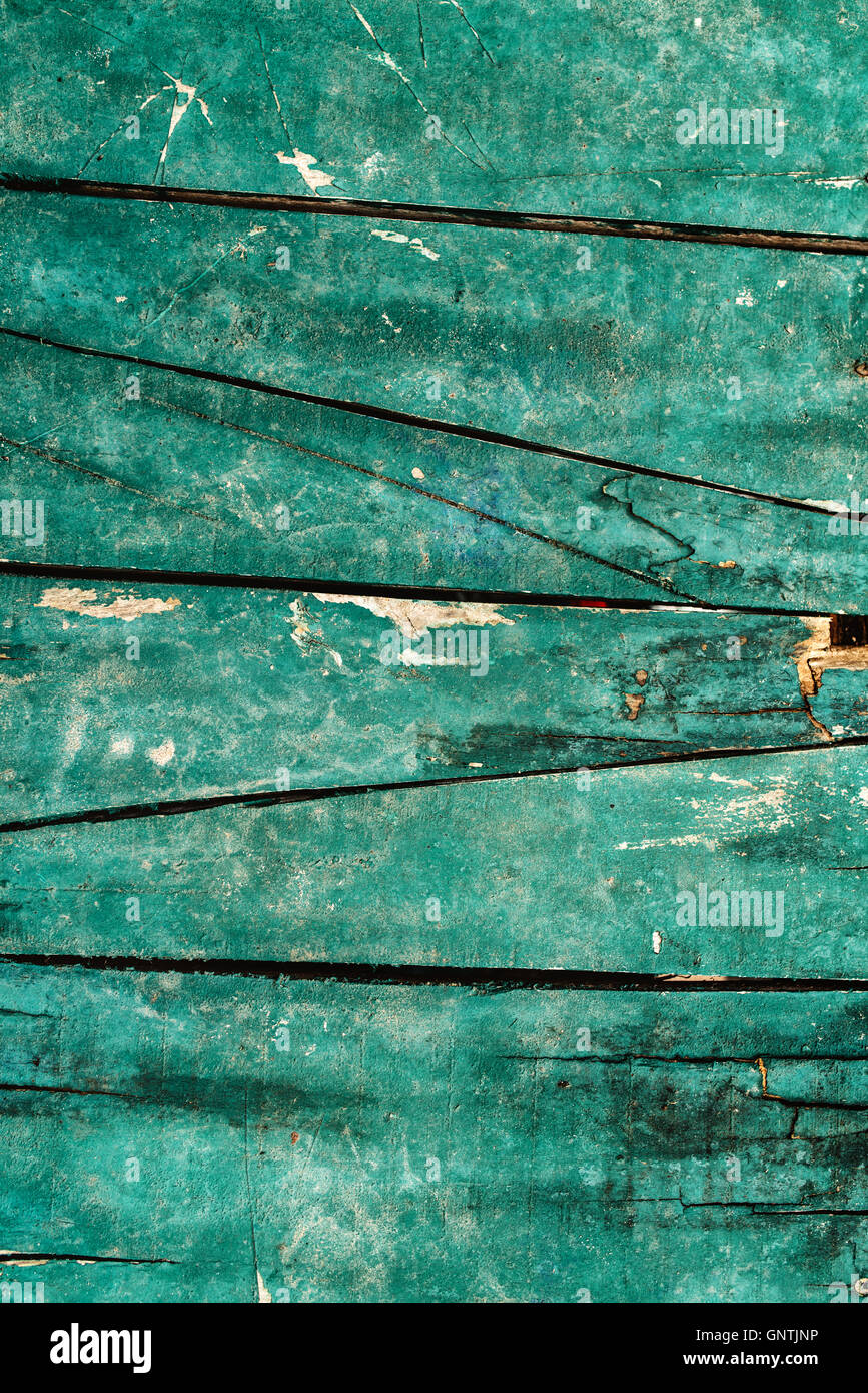Green wooden planks texture, wood boards surface - Stock Image
