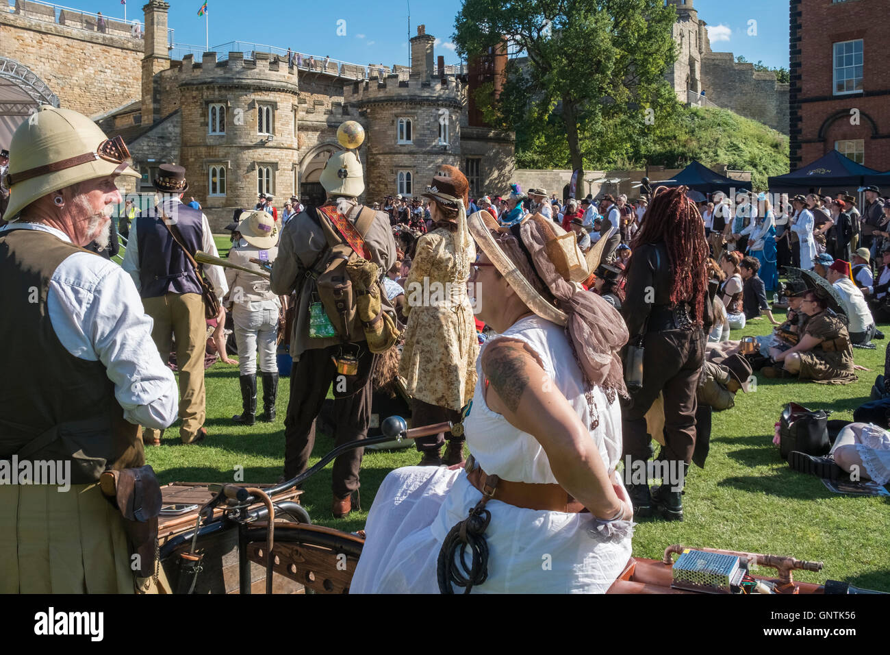 Participants at the 2016 Steampunk Festival, City of Lincoln, UK - Stock Image