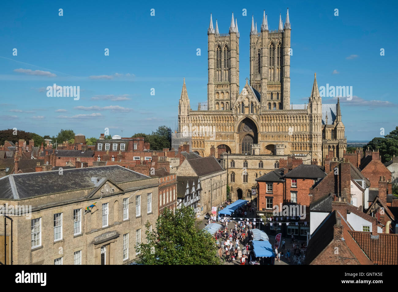 The gothic architecture of Lincoln Cathedral in the historic City of Lincoln, Lincolnshire, East Midlands, UK Stock Photo