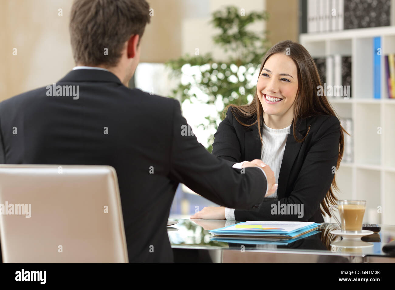 Businesspeople handshaking after negotiation or interview at office - Stock Image