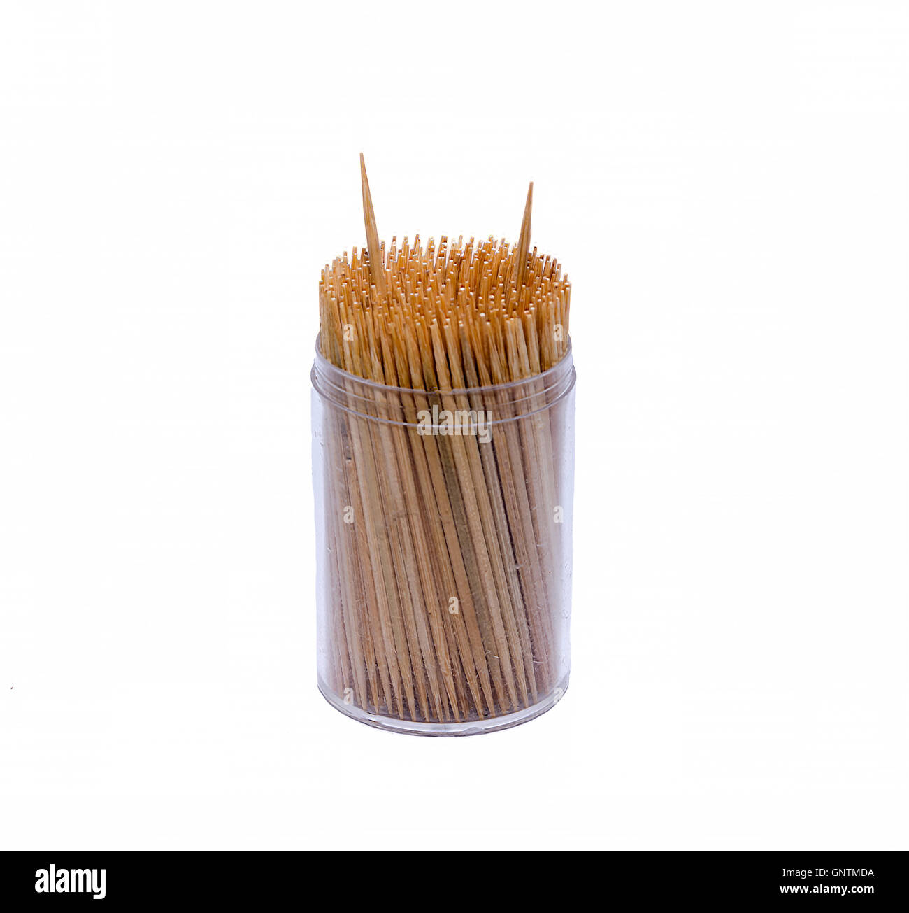 Toothpicks in a box. Isolated on white background with clipping path and copy space - Stock Image