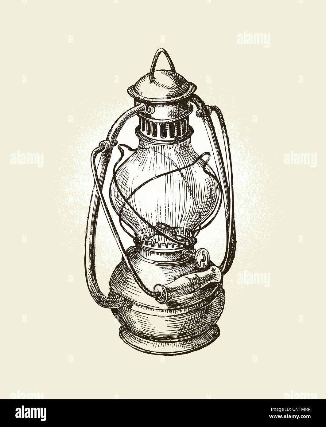 Hand-drawn vintage kerosene lamp. Sketch oil . Vector illustration - Stock Vector