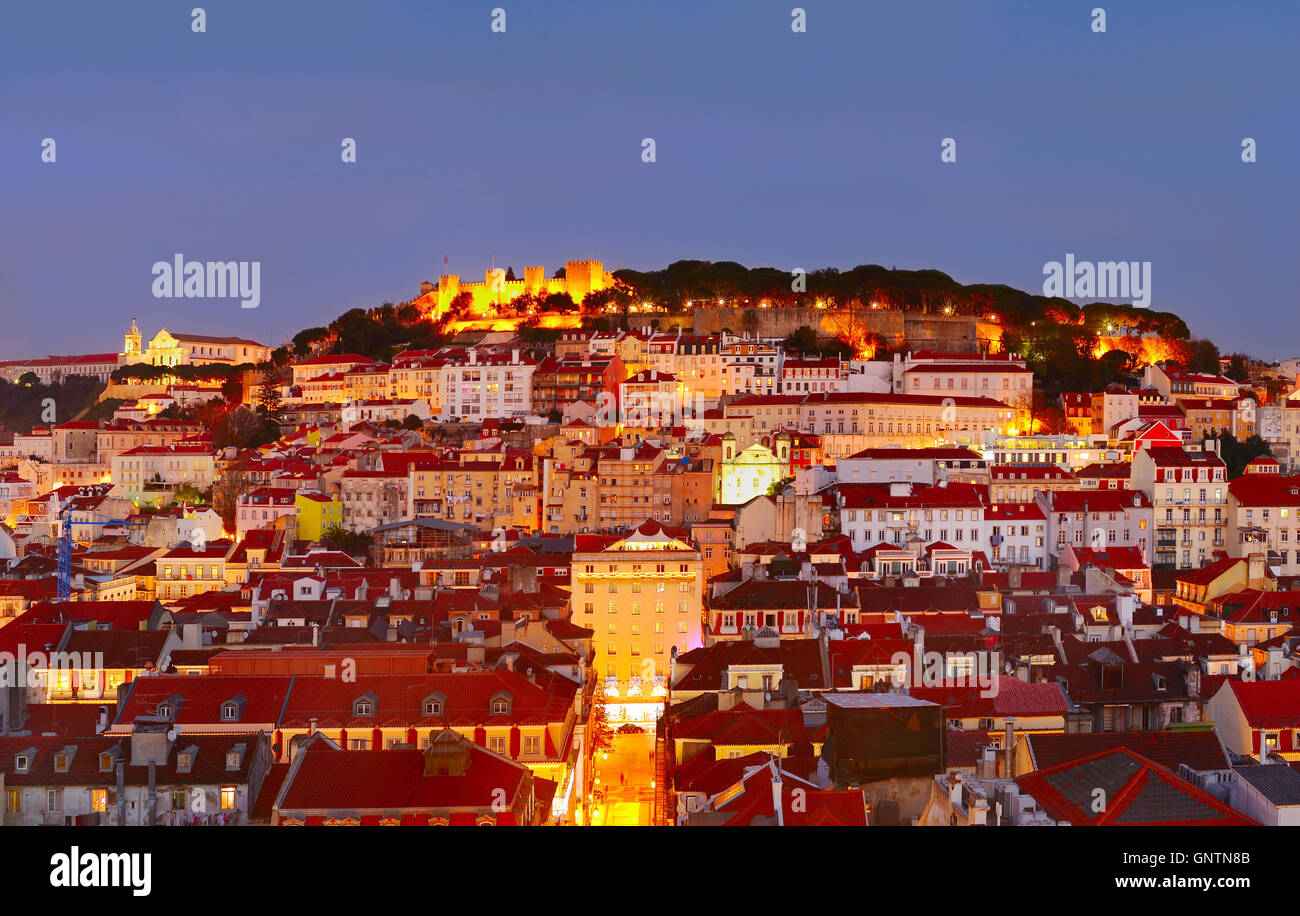 Skyline of Lisbon Old Town with Castle on top of a hill. Portugal - Stock Image