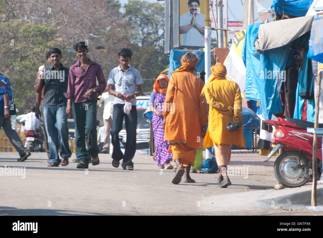 Old and the New generation at Ghandi Memorial, Kanyakumari, Tamil Nadu, Southern India, Asia - Stock Image