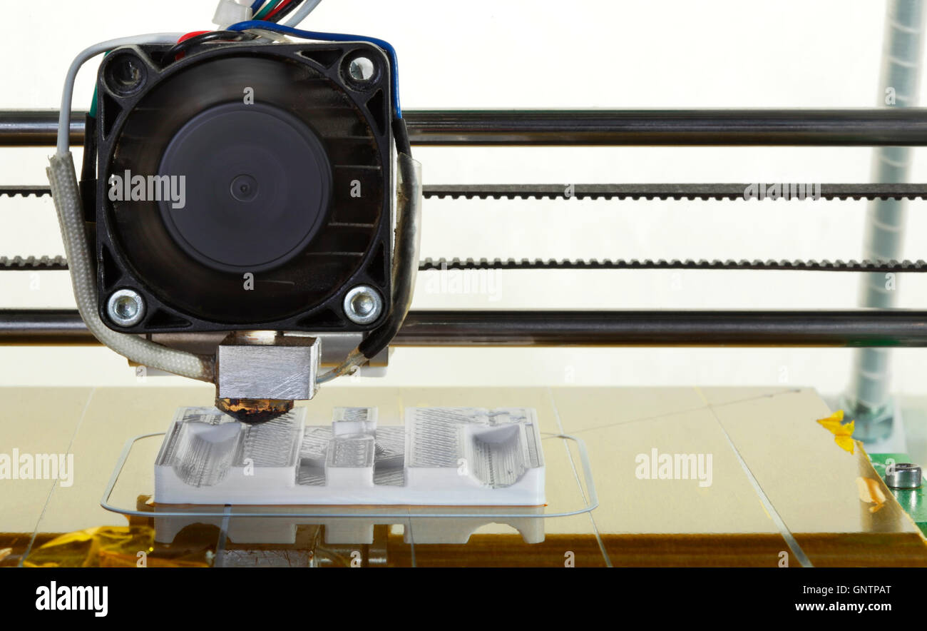 3D Printing Model of Plastic Prototype Replacement Part Cutout - Stock Image