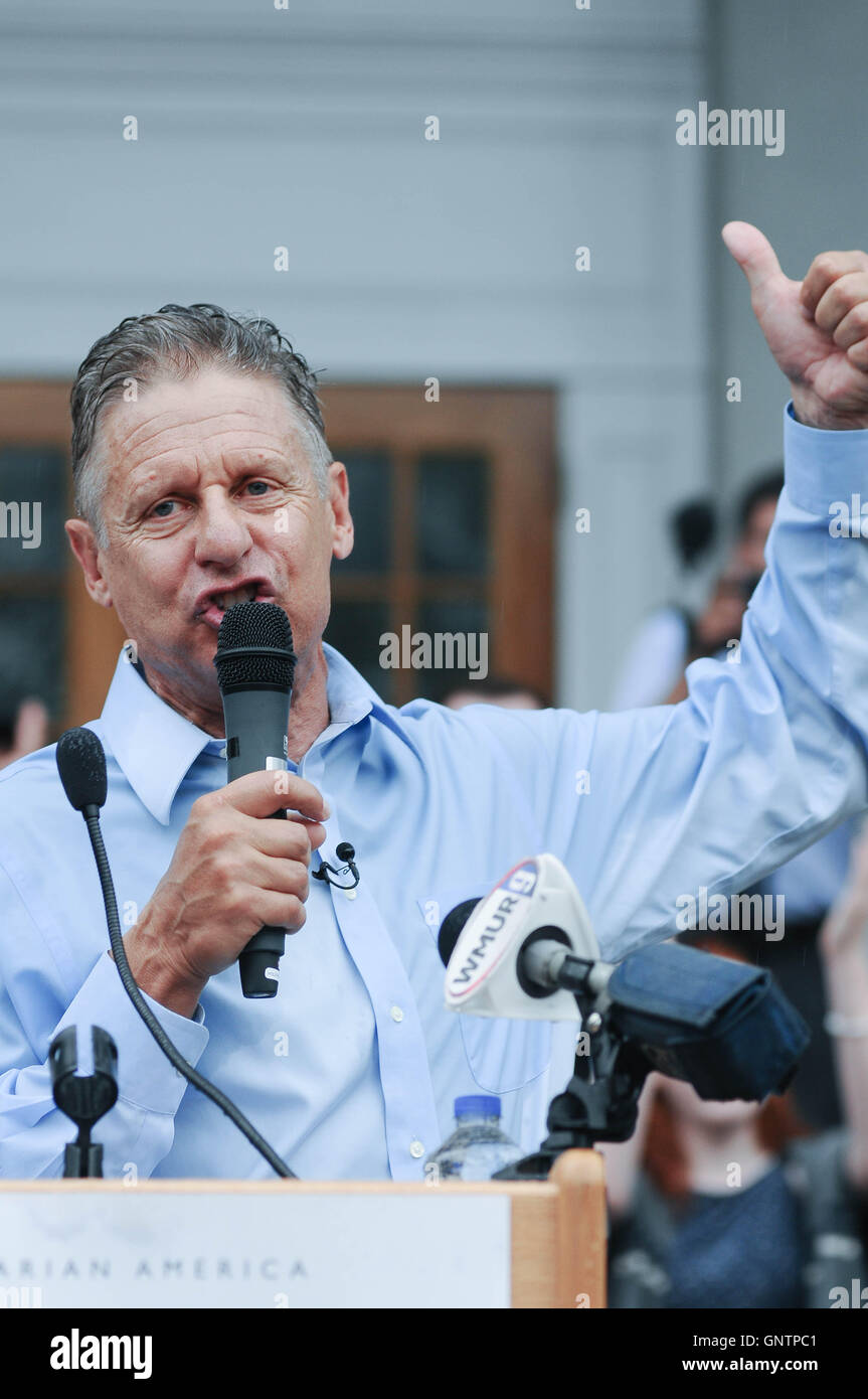 Libertarian U.S. presidential candidate Gary Johnson speaks at a rally in Concord, New Hampshire, USA, on 25 August, - Stock Image