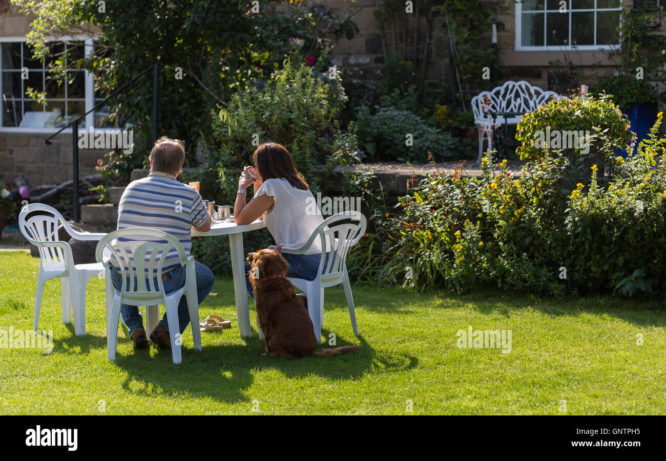 A Yorkshire tradition - tea in a summer garden. - Stock Image