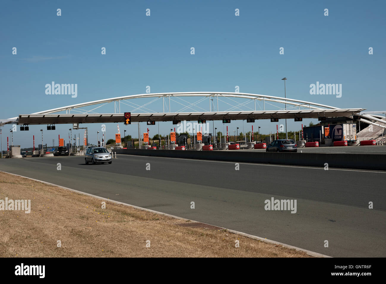 Pay station France -- A toll booth for vehicles on a French autoroute - Stock Image