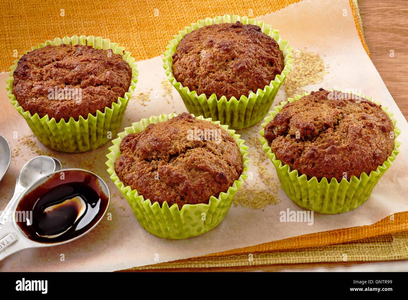 Bran date muffins - Stock Image