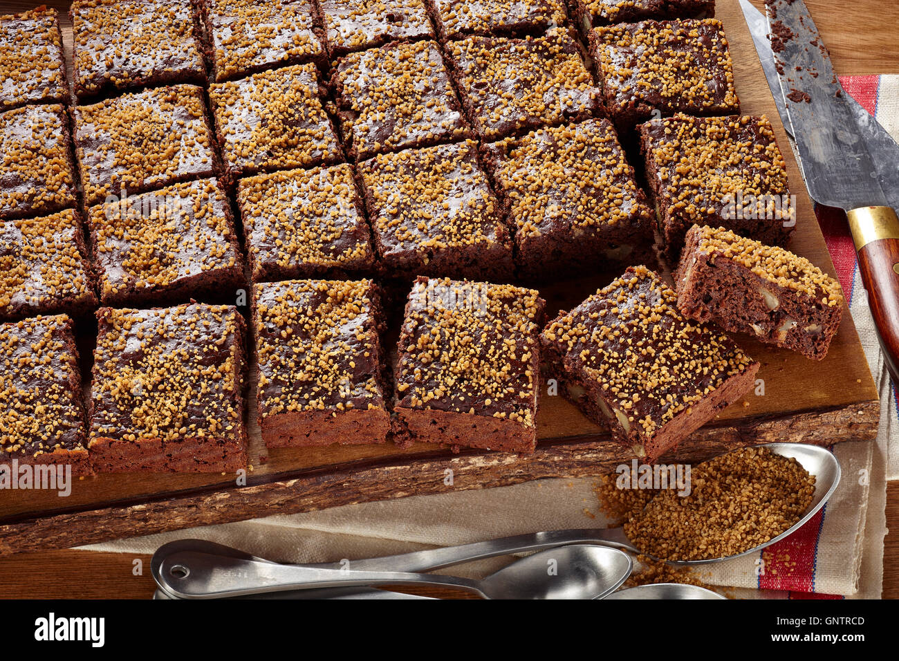 Dark chocolate sucanat brownies - Stock Image