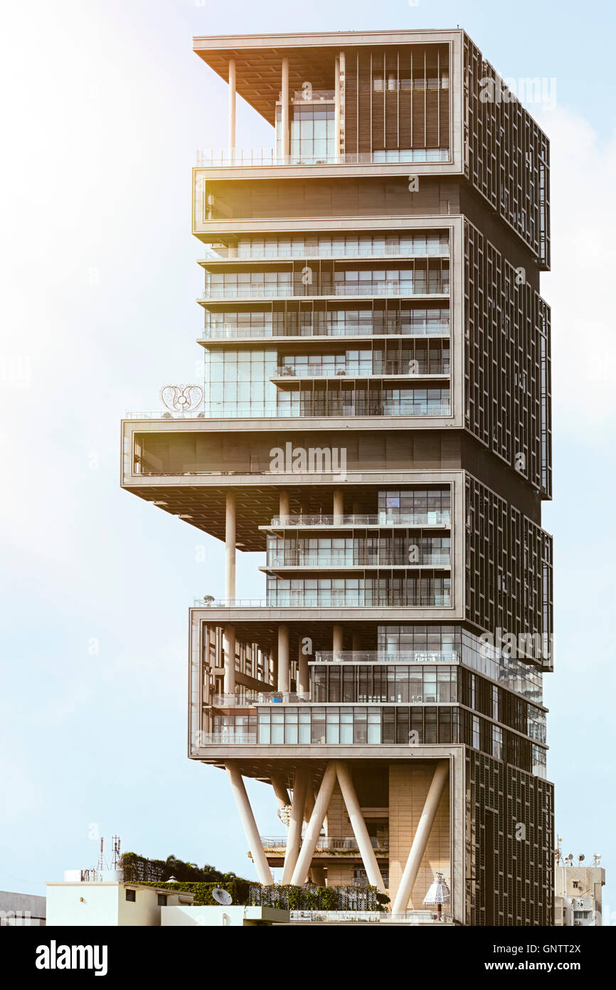 Mukesh Ambani owned Antilla/Antilia - the world's most expensive private residence, in Mumbai Stock Photo