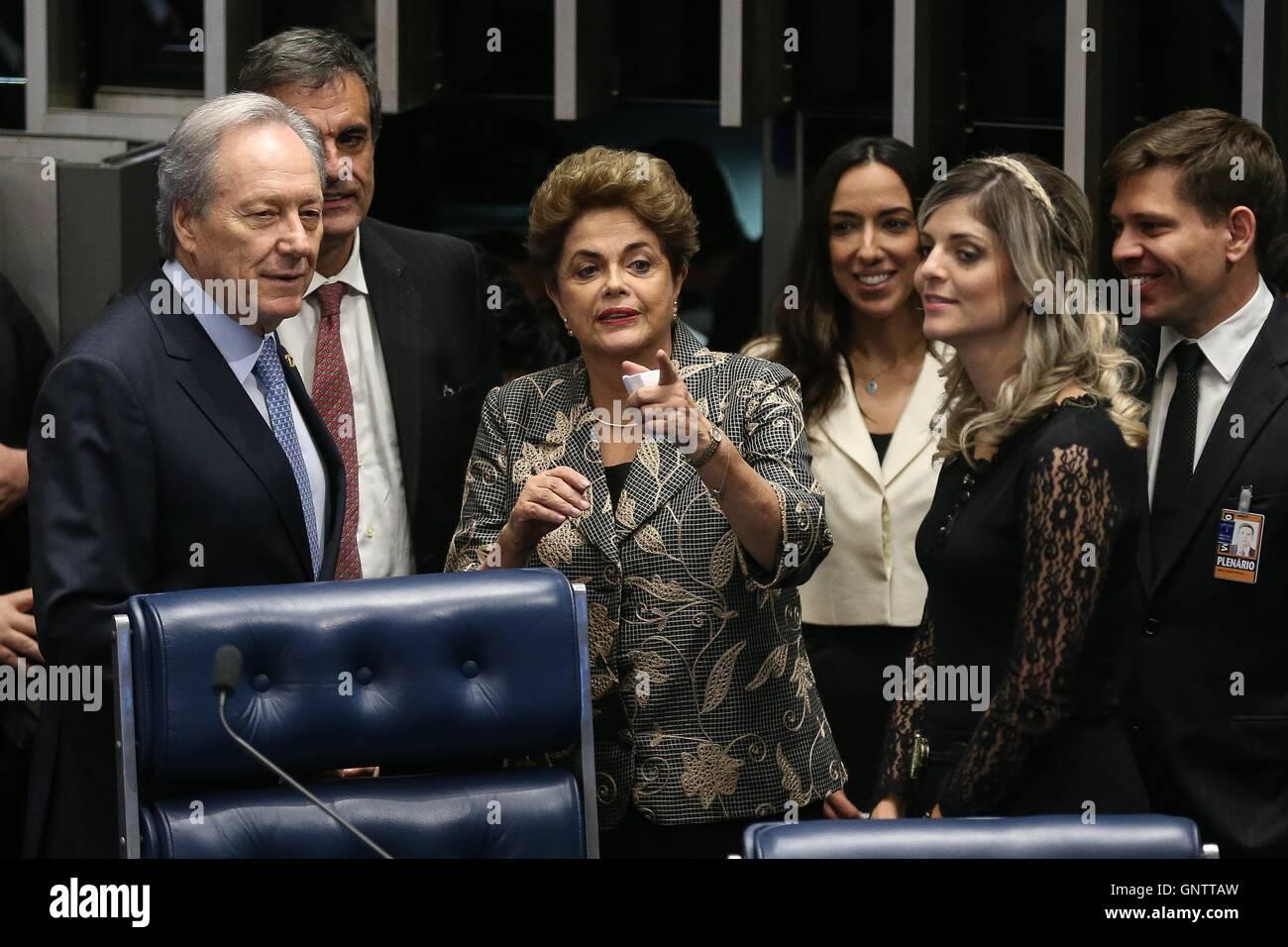 Brazilian President Dilma Rousseff during the impeachment trial in the Brazilian Senate August 29, 2016 in Brasilia, - Stock Image