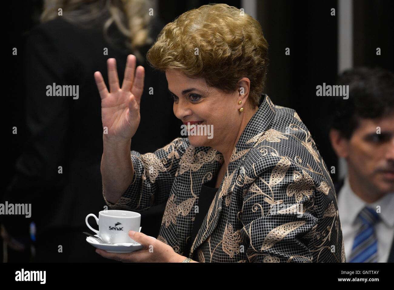 Brazilian President Dilma Rousseff during the impeachment trial in the Brazilian Senate August 29, 2016 in Brasilia, - Stock Image