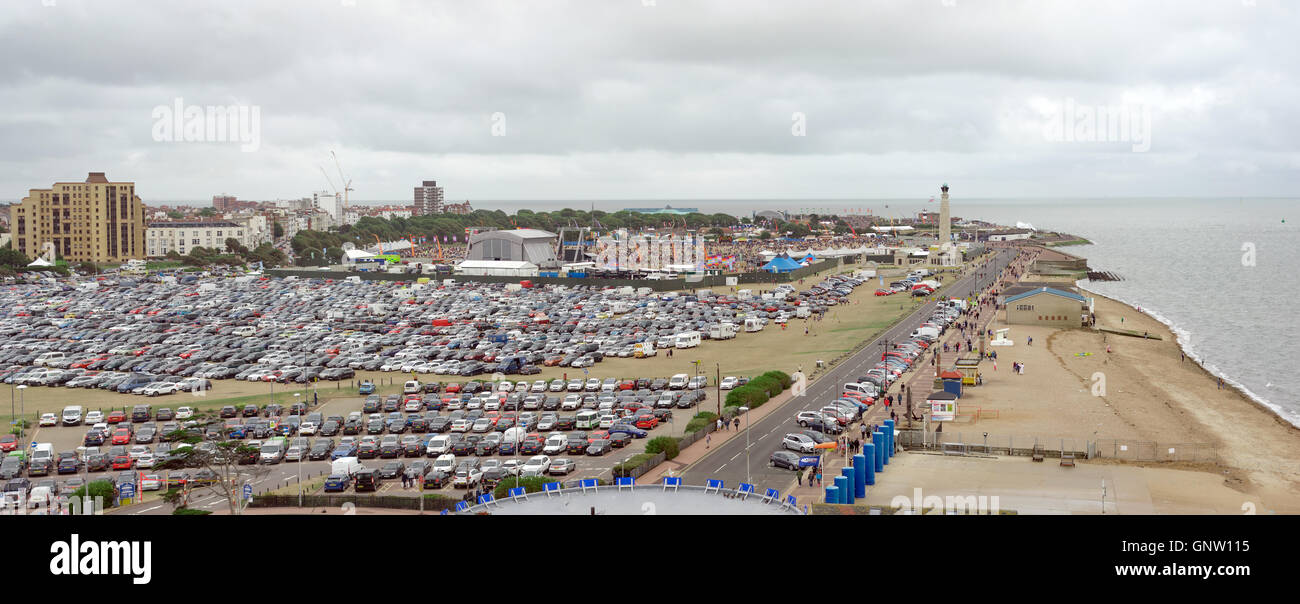 The summer 'Victorious' music festival captured from the 'Portsmouth Eye' ferris wheel. Stock Photo