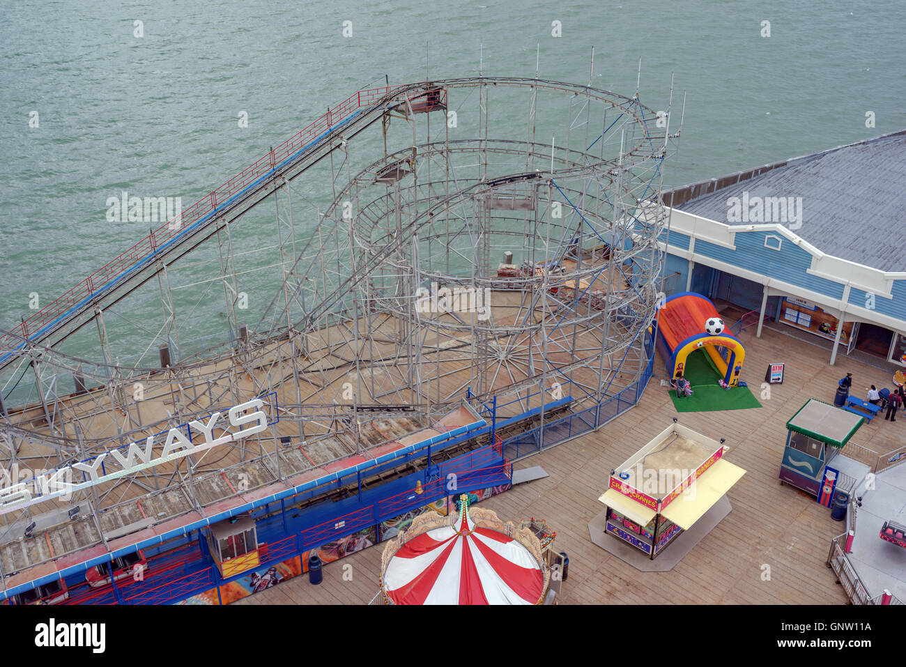 Clarence Pier roller coaster captured from the 'Portsmouth Eye' ferris wheel. Stock Photo