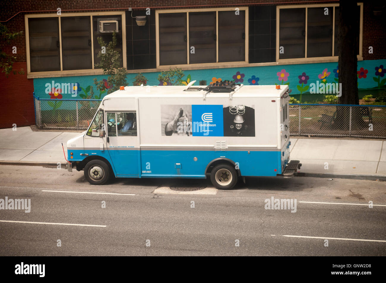 A Con Edison utility truck parked in the Chelsea neighborhood of New York on Wednesday, August 31, 2016. (© - Stock Image