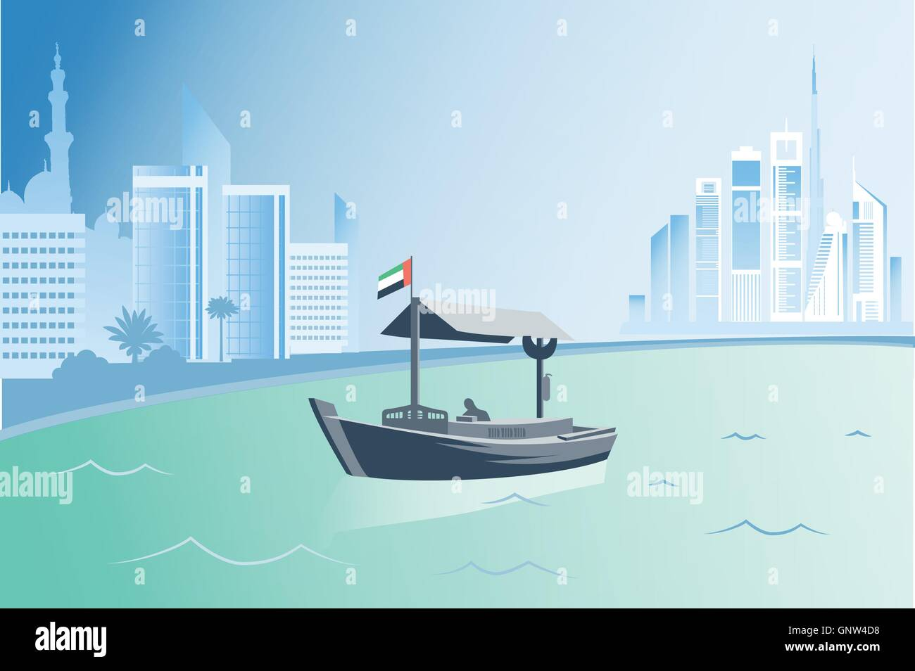 Dubai traditional abra boat on the city background vector illustration - Stock Vector