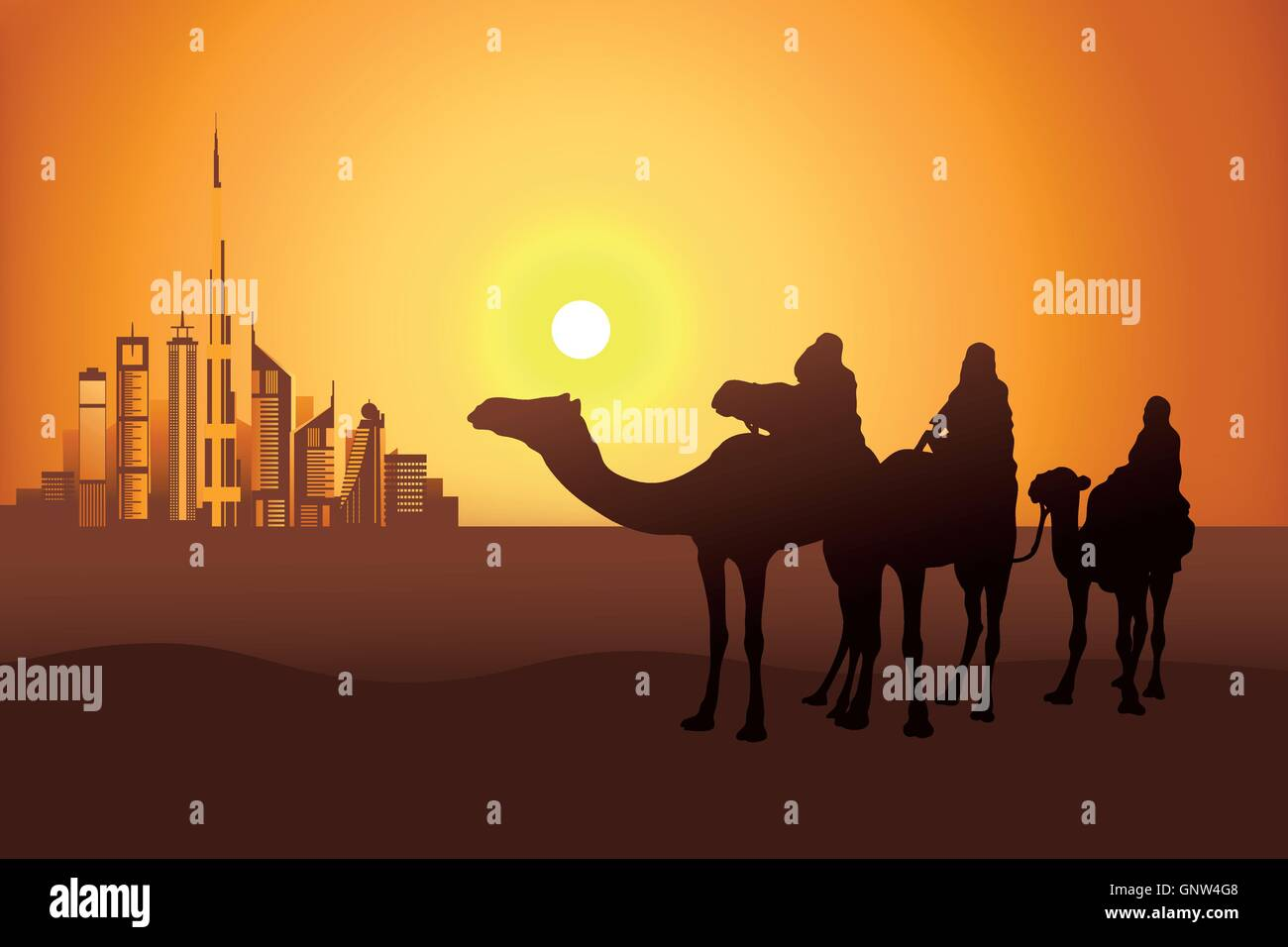 Three camel riders at the sunset in the desert on the Dubai city background vector illustration - Stock Vector