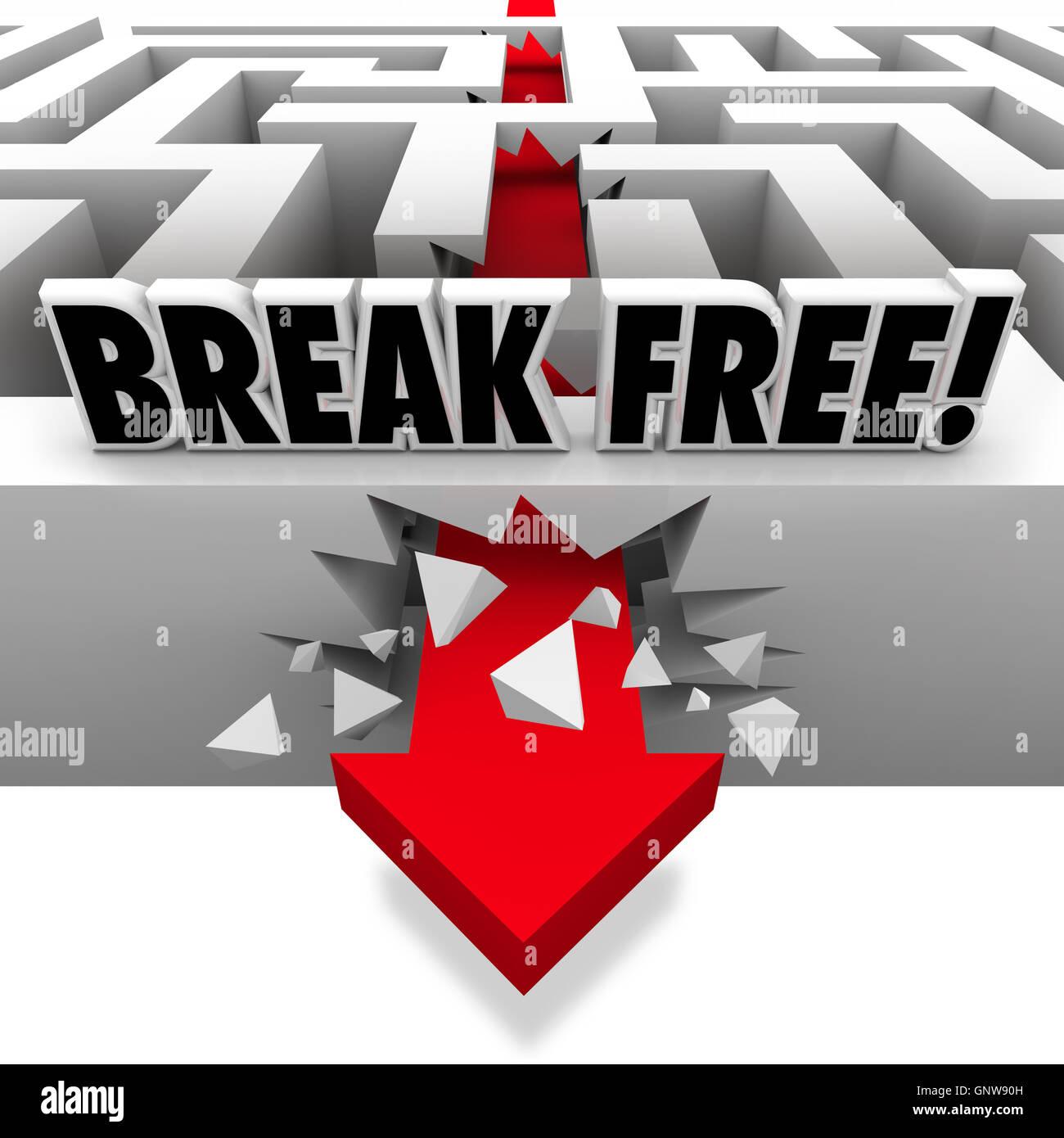 Arrow Breaks Free Through Maze to Freedom Stock Photo