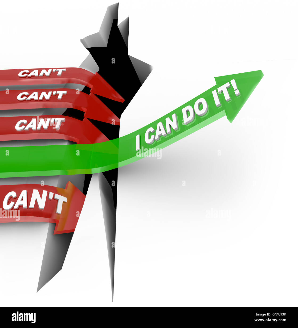 Can Vs Can't Arrow Rises Over Hole Wins Competition - Stock Image
