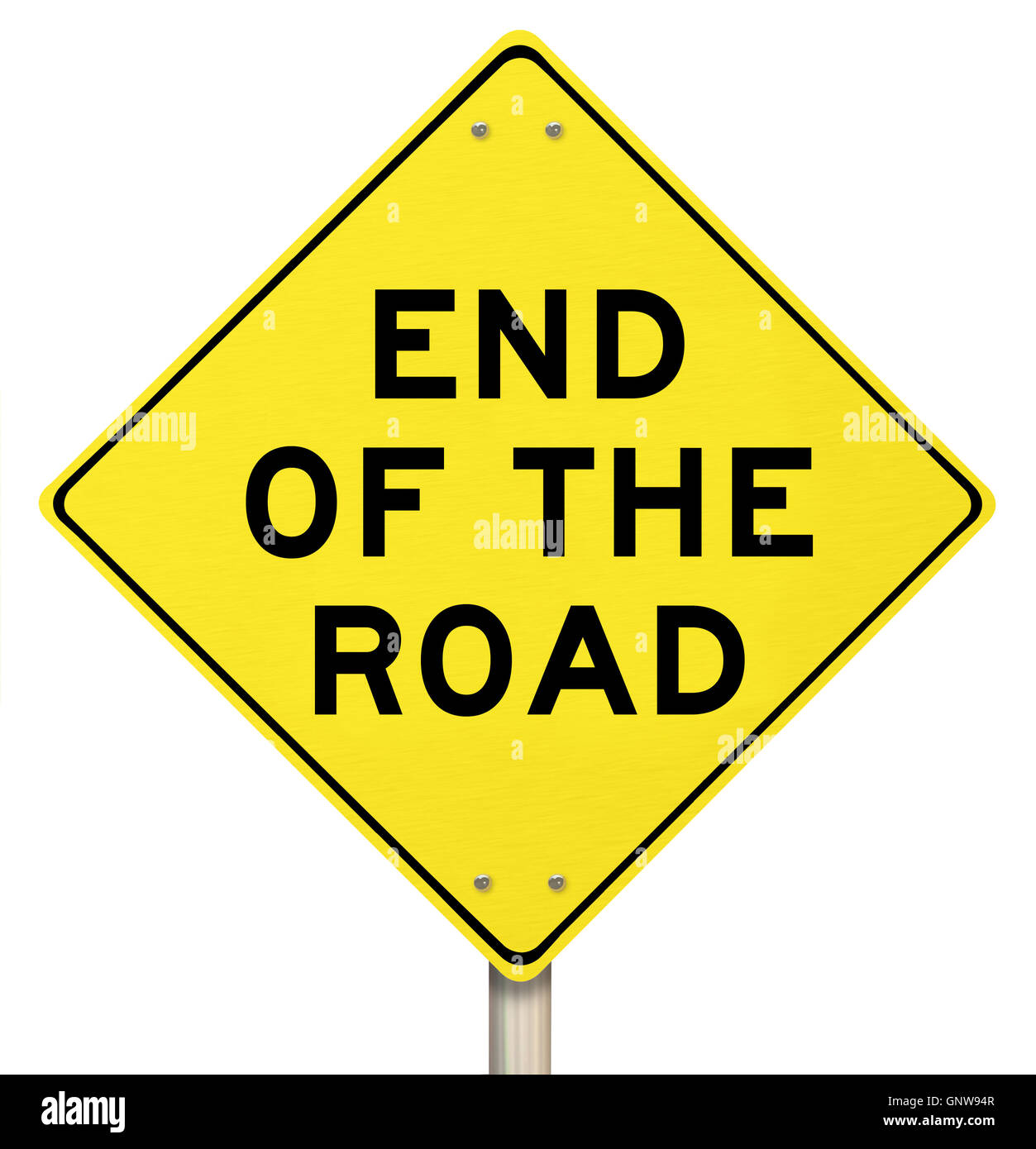 End of the Road Yellow Warning Sign - Last Final Failure - Stock Image