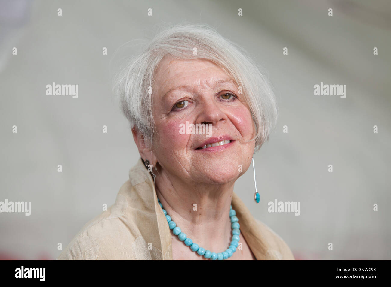 Liz Lochhead, the Scottish poet and dramatist, at the Edinburgh International Book Festival. Edinburgh, Scotland. - Stock Image