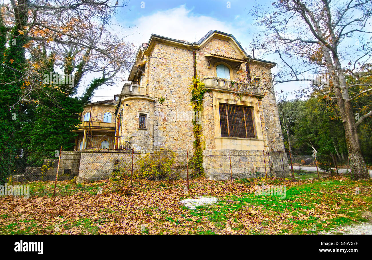 abandoned house of Tatoi Palace, the place where stayed the former greek Royal family - Stock Image