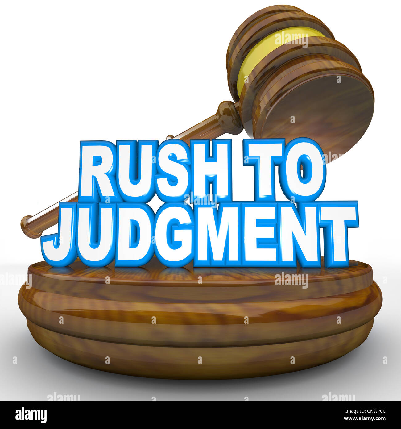 Rush to Judgment Words and Gavel Hasty Decision - Stock Image