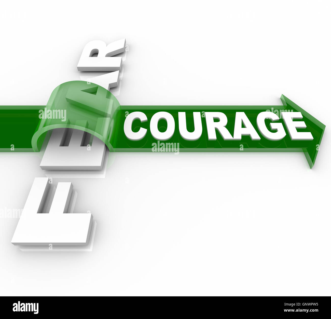 Brave Courage Overcoming Fear Bravery Vs Afraid Stock Photo