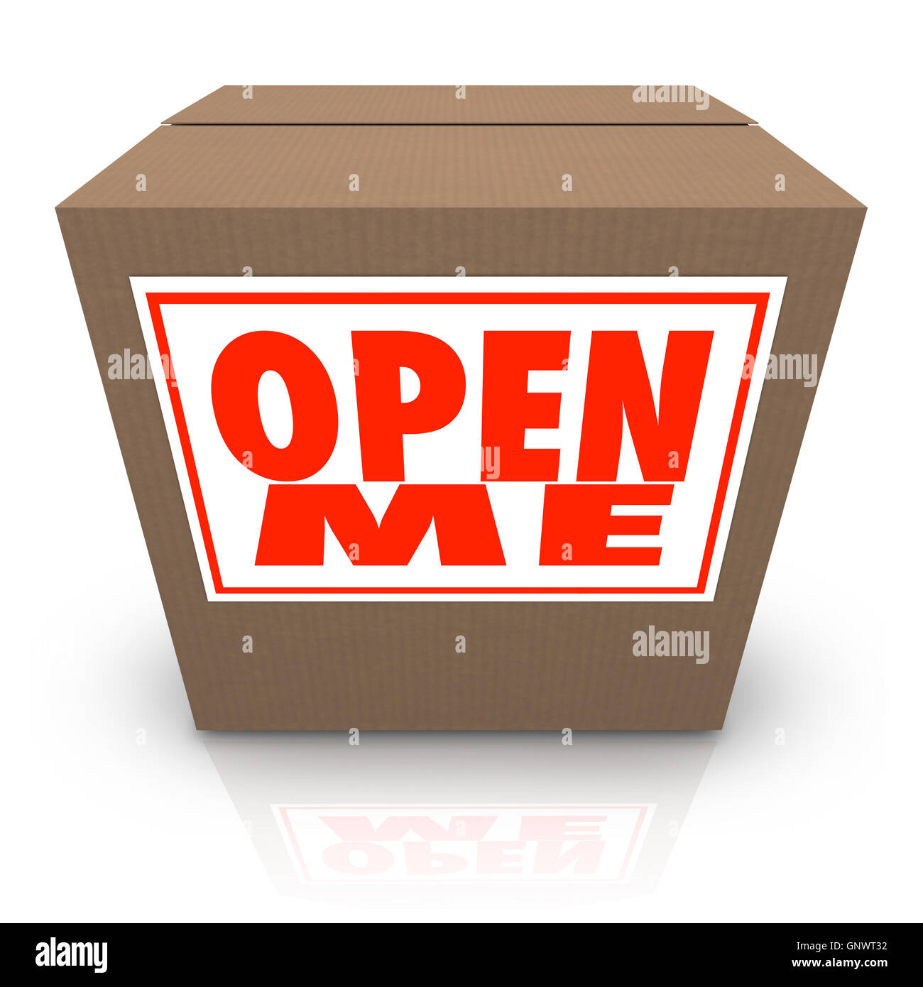 open me label on cardboard box mystery present package stock photo