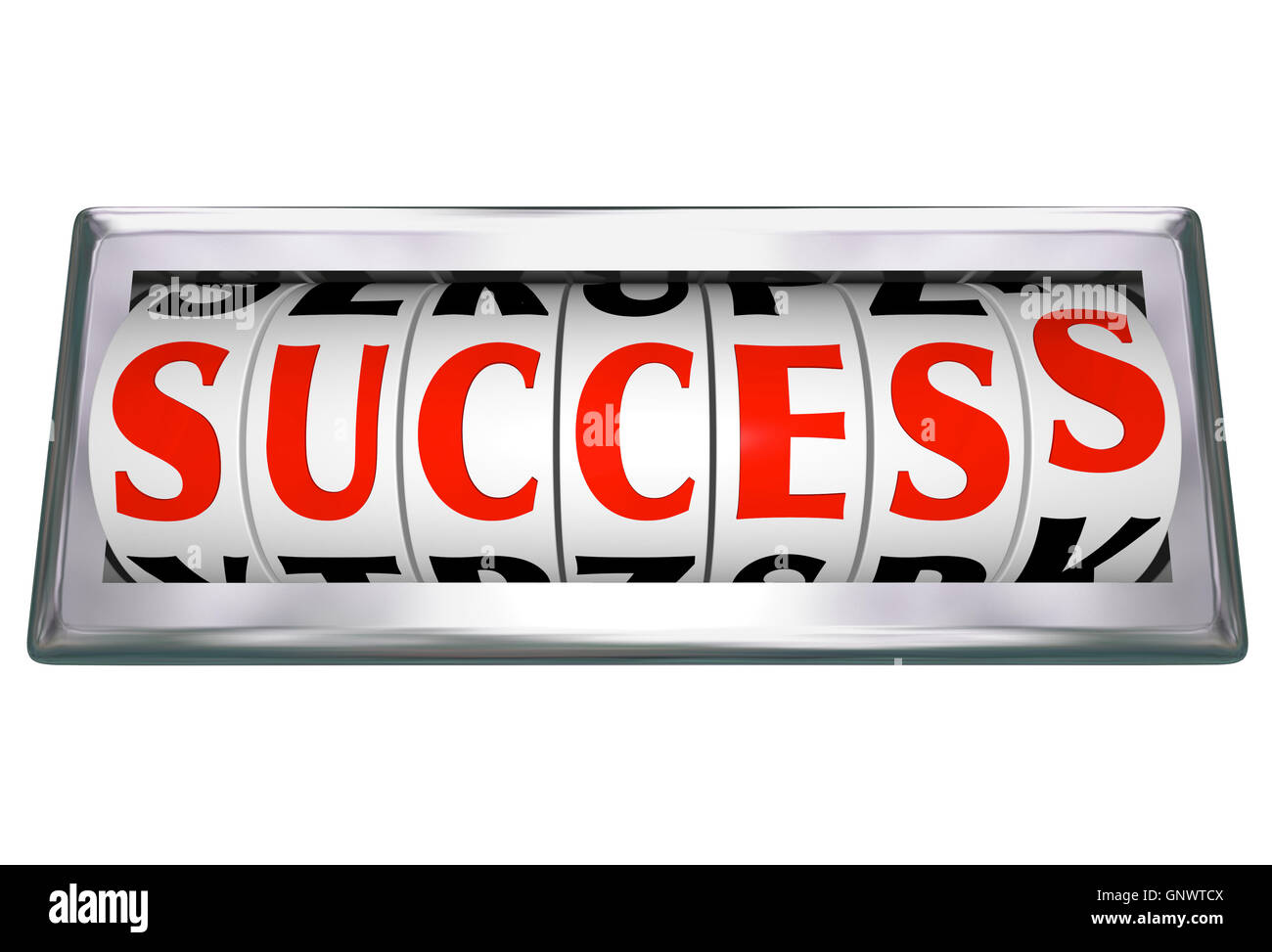 Success Word Wheels Slots Odometer Tracking Successful Goal - Stock Image