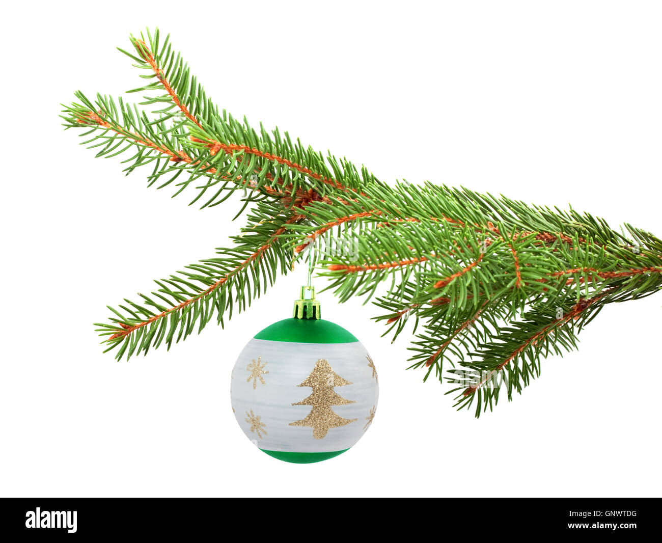 Branch with a Christmas toy - Stock Image