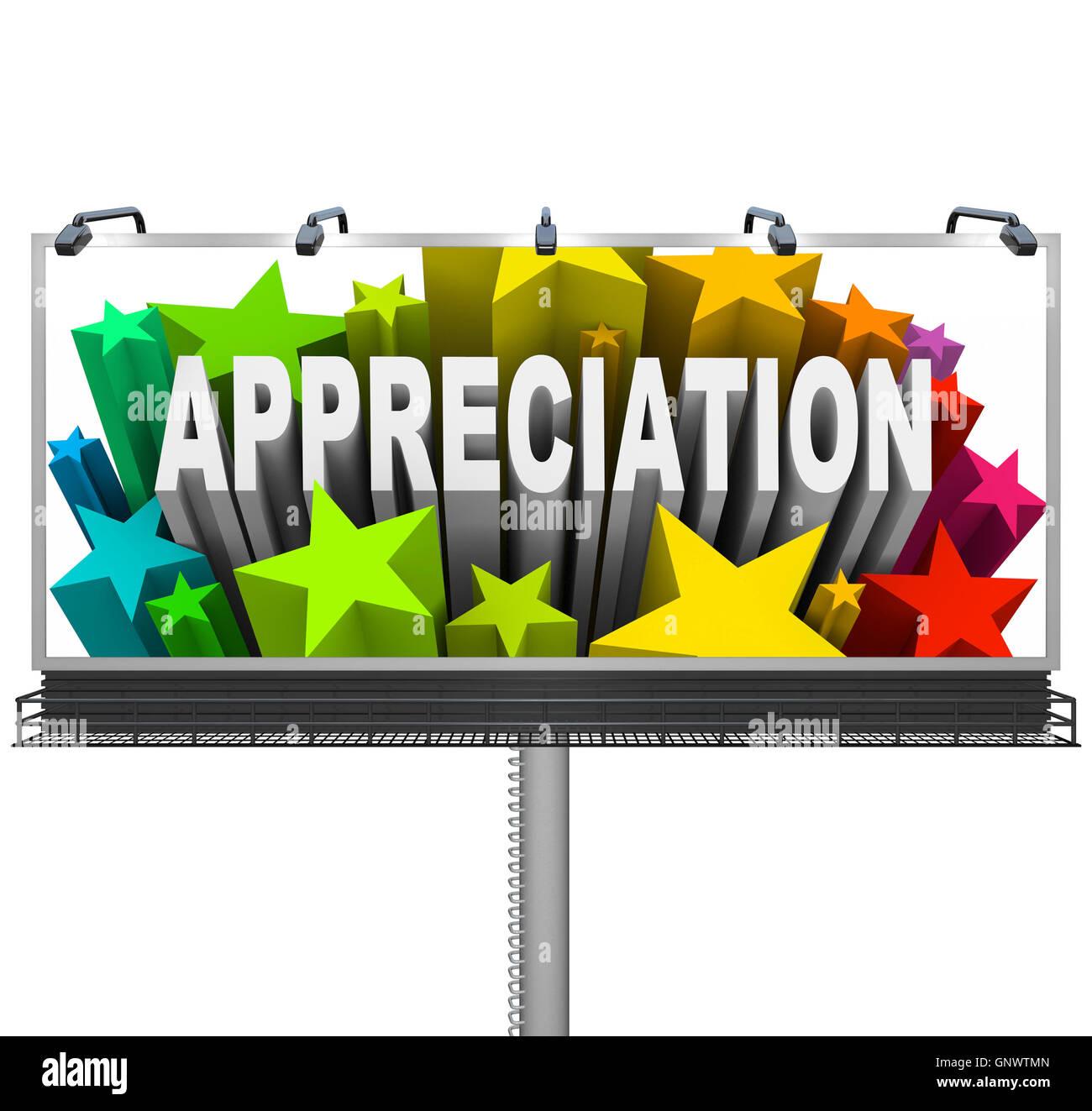 Appreciation Billboard Recognition of Good Work - Stock Image
