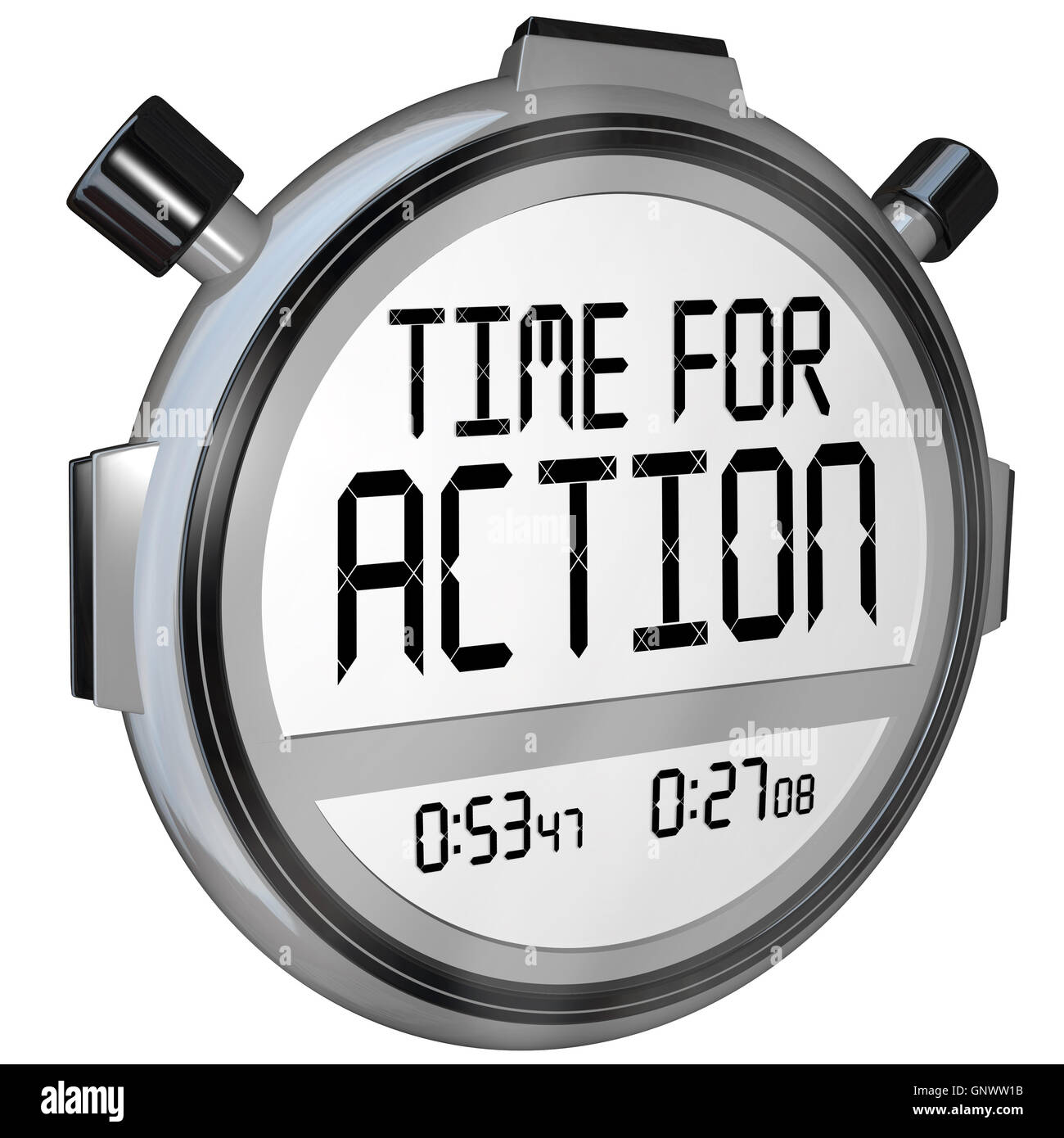 Time for Action Stopwatch Timer Clock Demanding Act - Stock Image