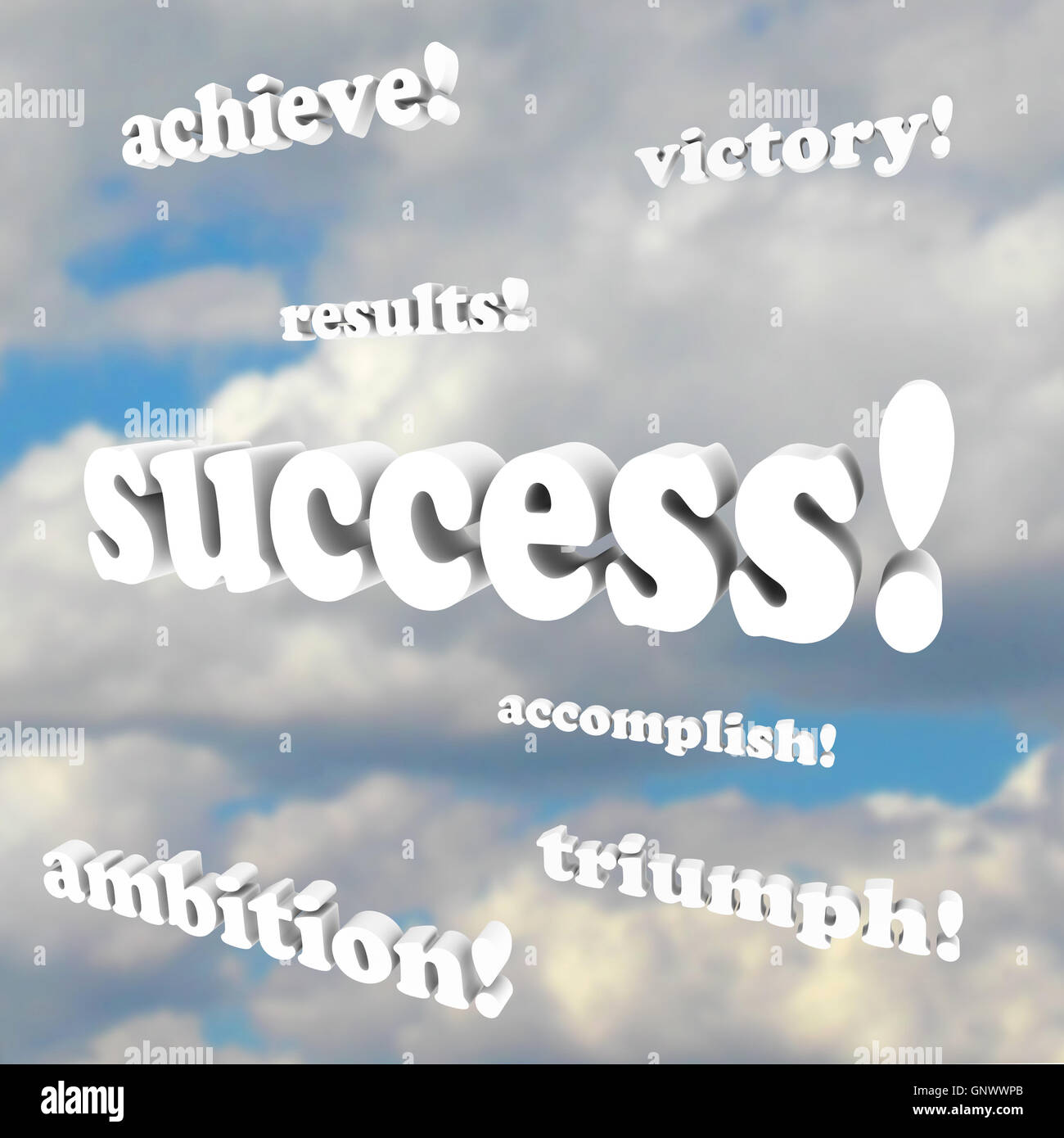 Success Words in Clouds - Achieve Goals be Successful in Life - Stock Image