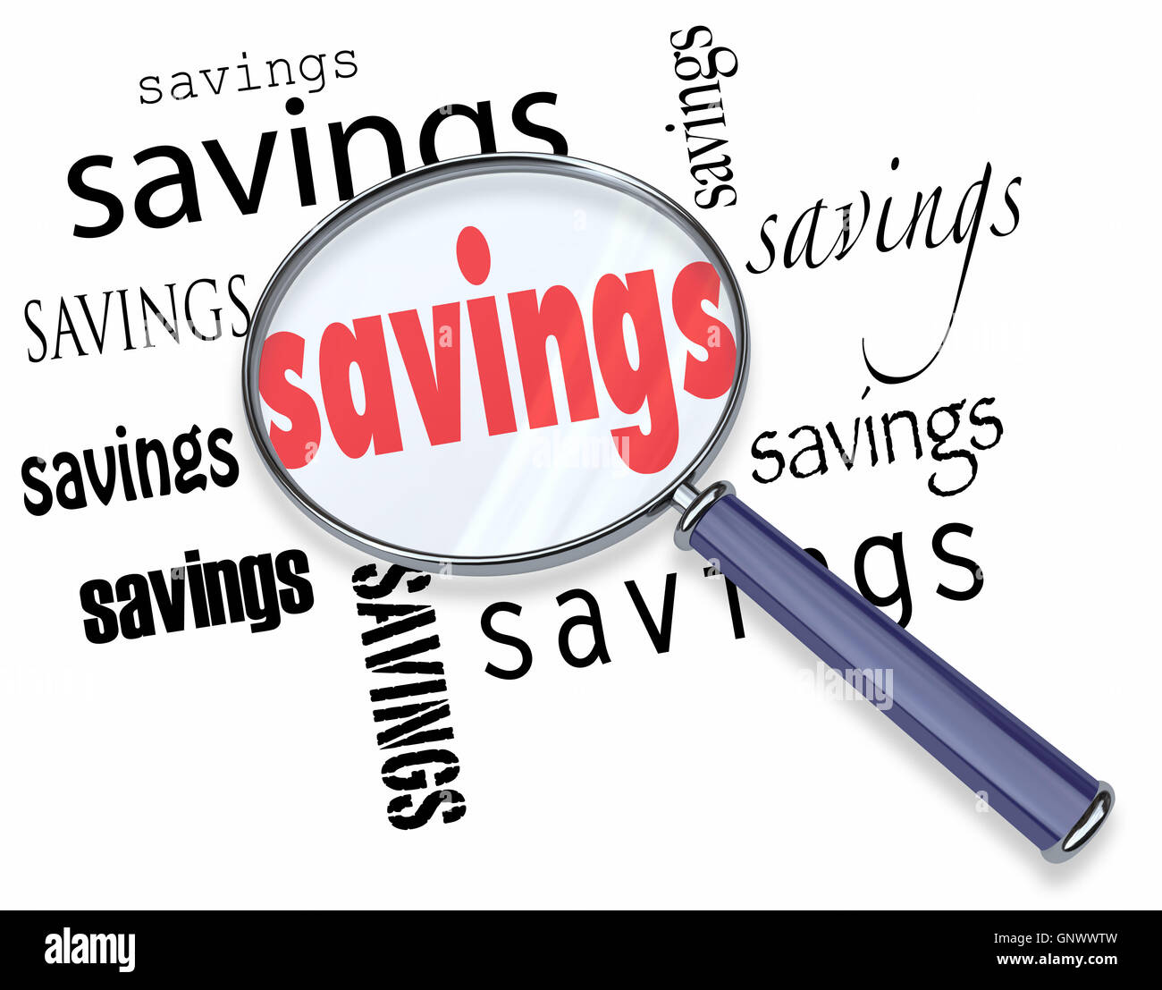 Searching for Savings Words Magnifying Glass Best Deal - Stock Image