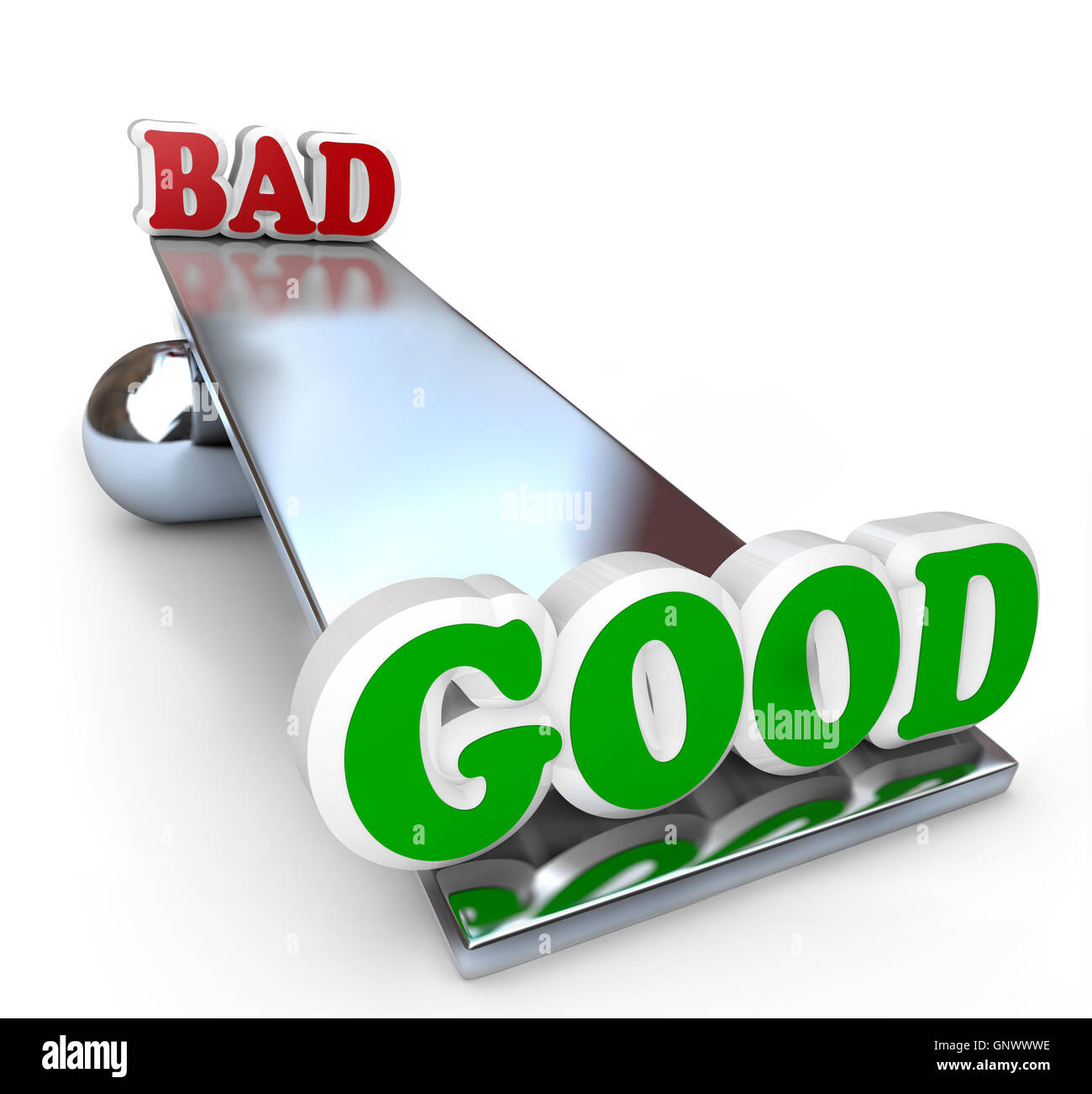 Good vs Bad Comparison on Balance Weighing Differences - Stock Image