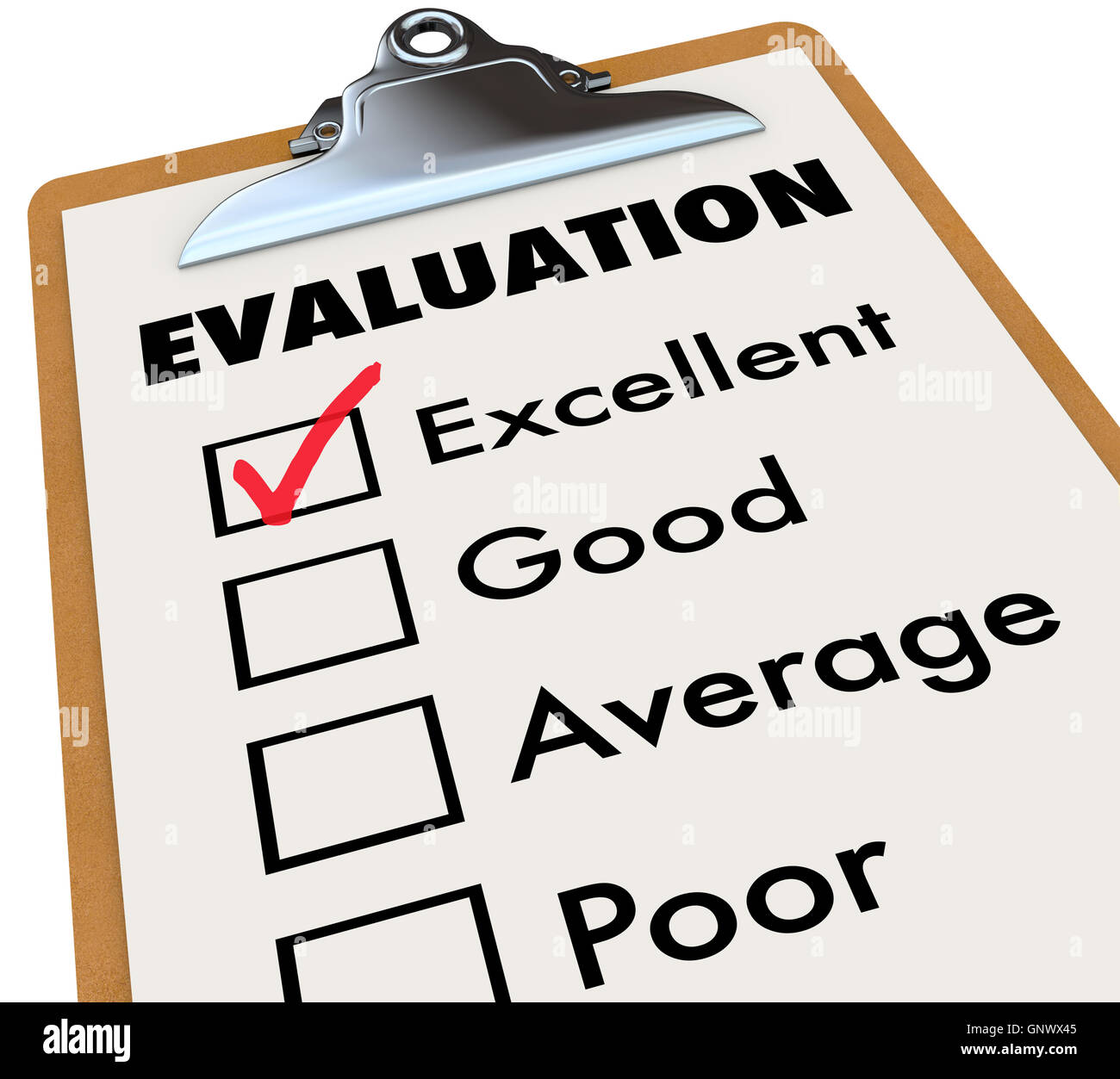 Evaluation Report Card Clipboard Assessment Grades - Stock Image