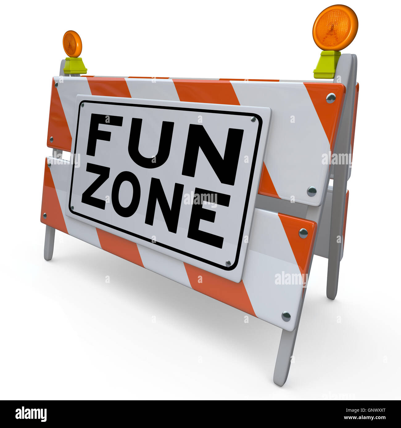 Fun Zone Barricade Construction Sign Kids Playground - Stock Image