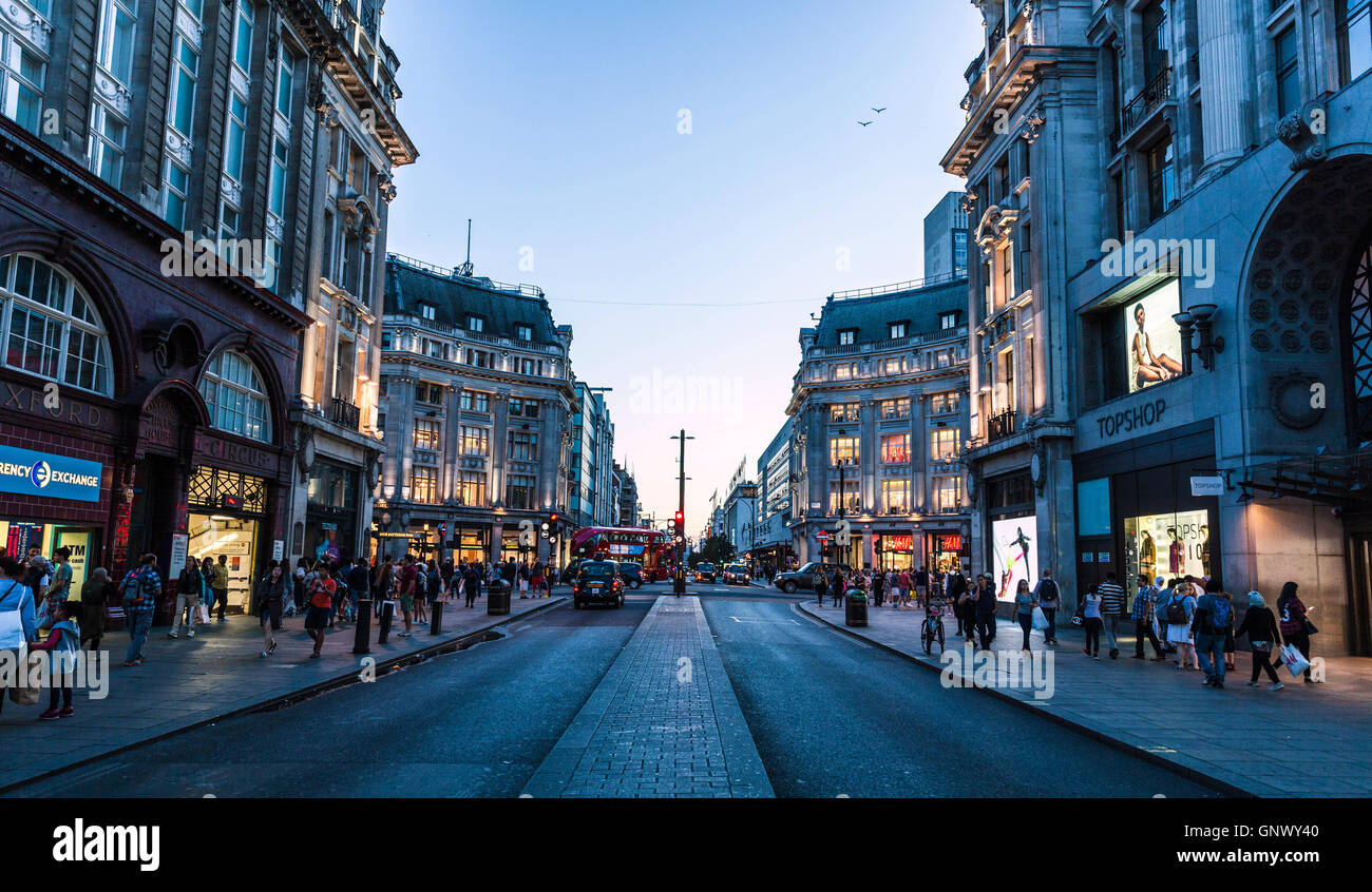 Oxford street scene viewed from central reservation, London, England, UK. - Stock Image