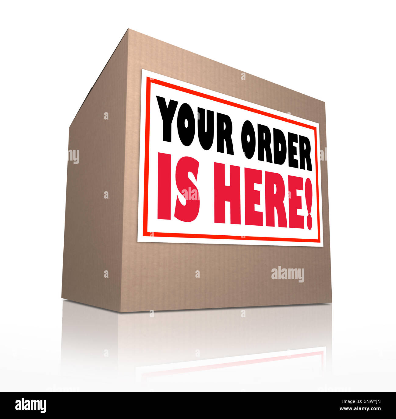 Your Order is Here Cardboard Box Package Delivery - Stock Image