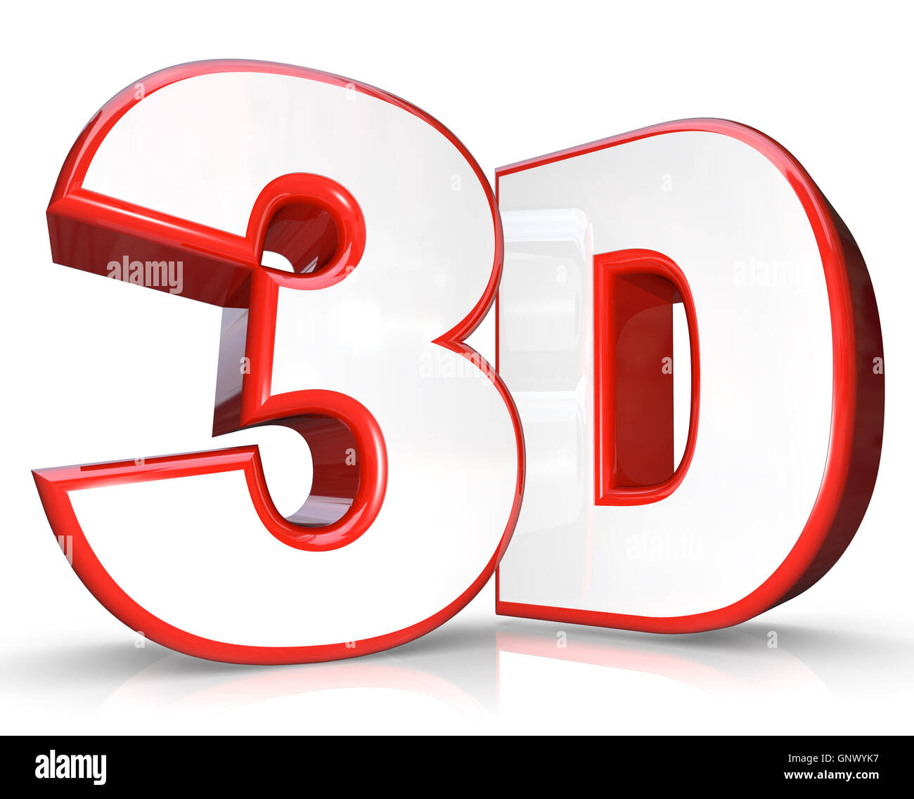 3D Red Letter and Number Three Dimensional Viewing - Stock Image