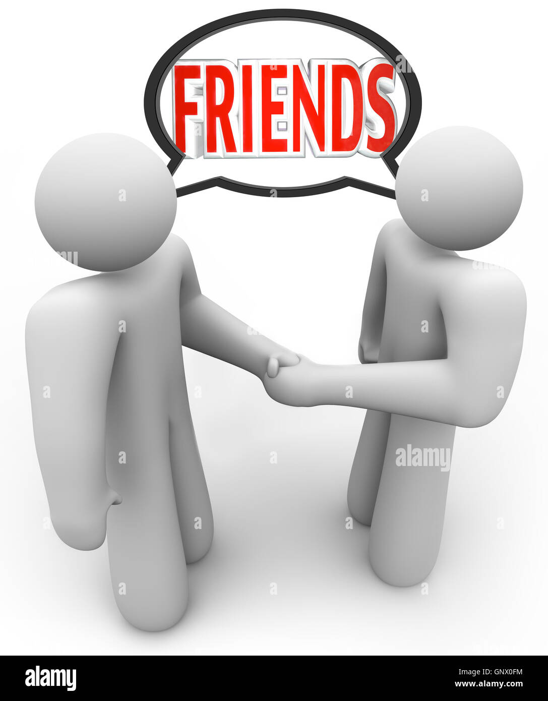 Friends Two People Shaking Hands Friendly Meeting - Stock Image