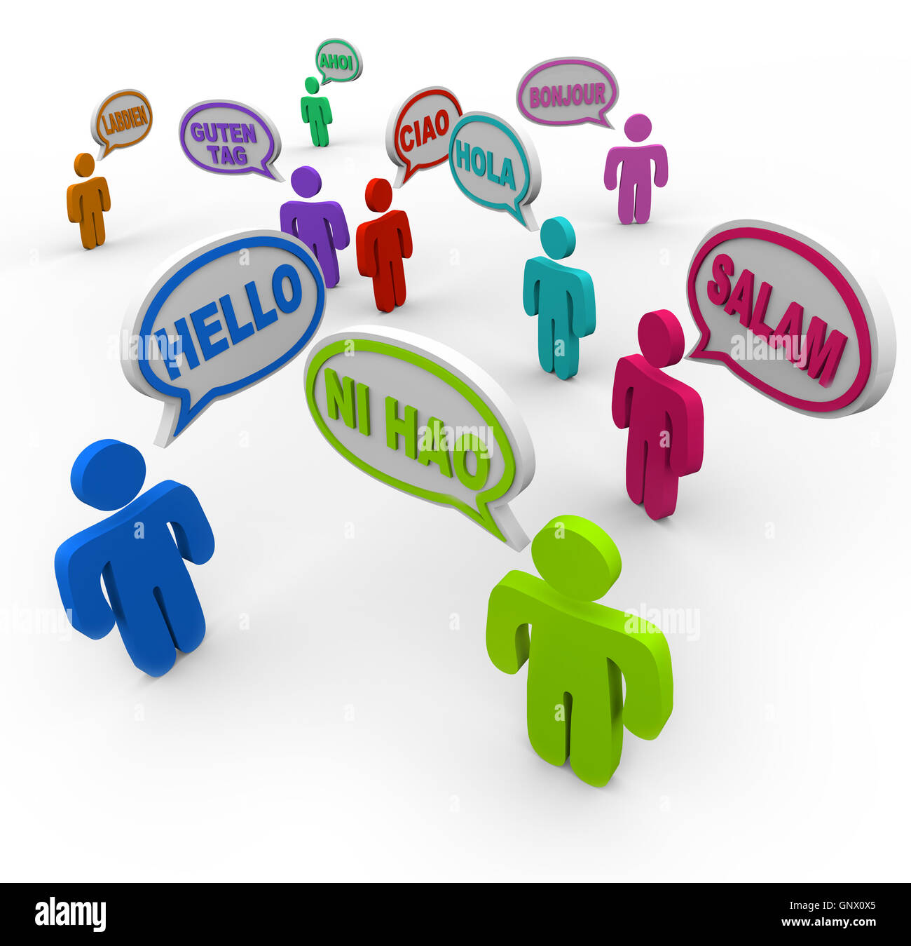 Hello in Different International Languages Greeting People - Stock Image