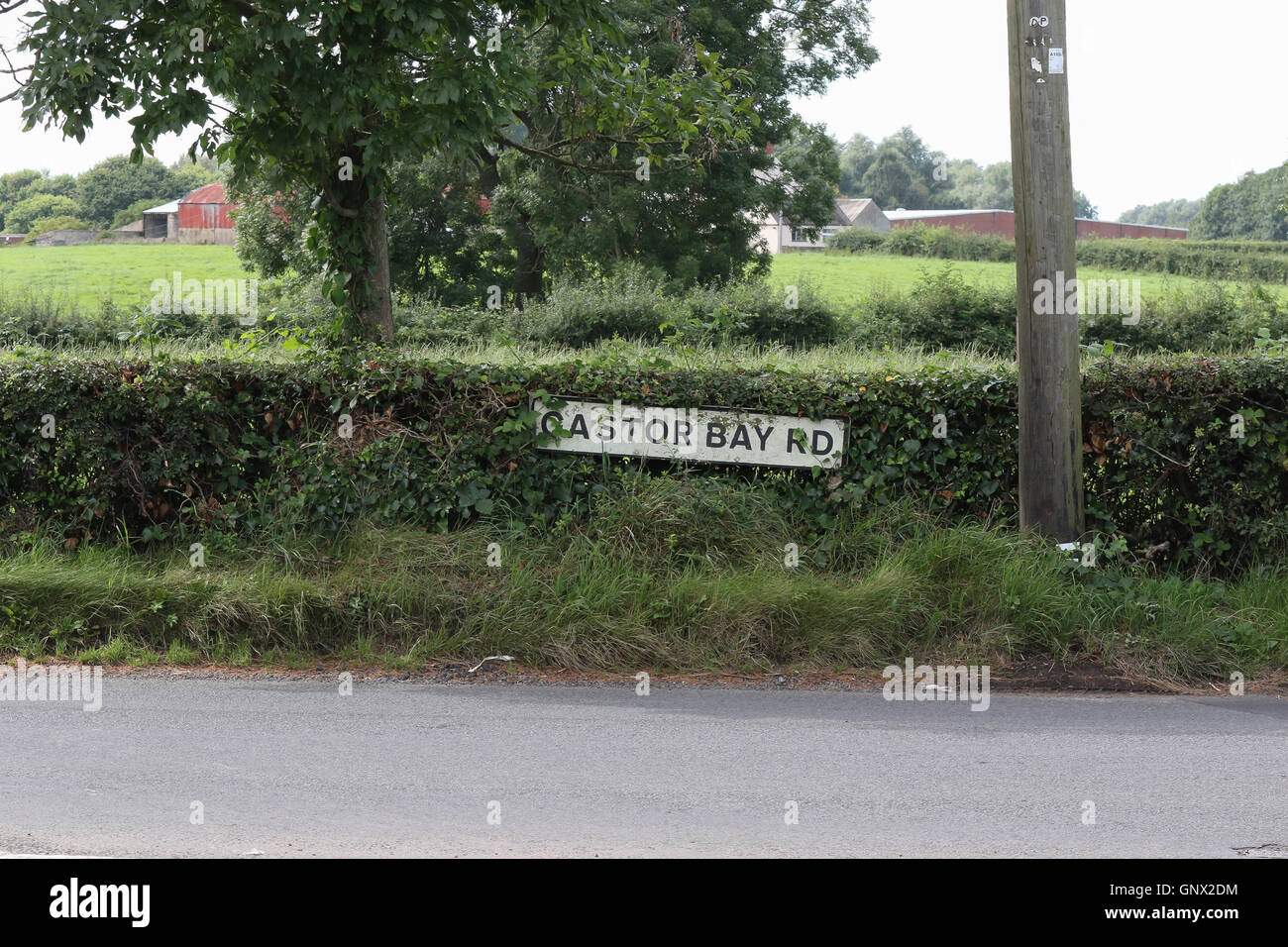 Rural road name sign in Northern Ireland - Stock Image