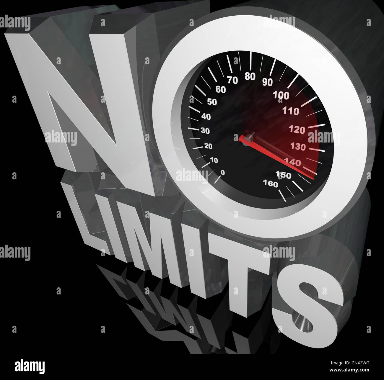 No Limits Speedometer Words Unlimited Potential - Stock Image
