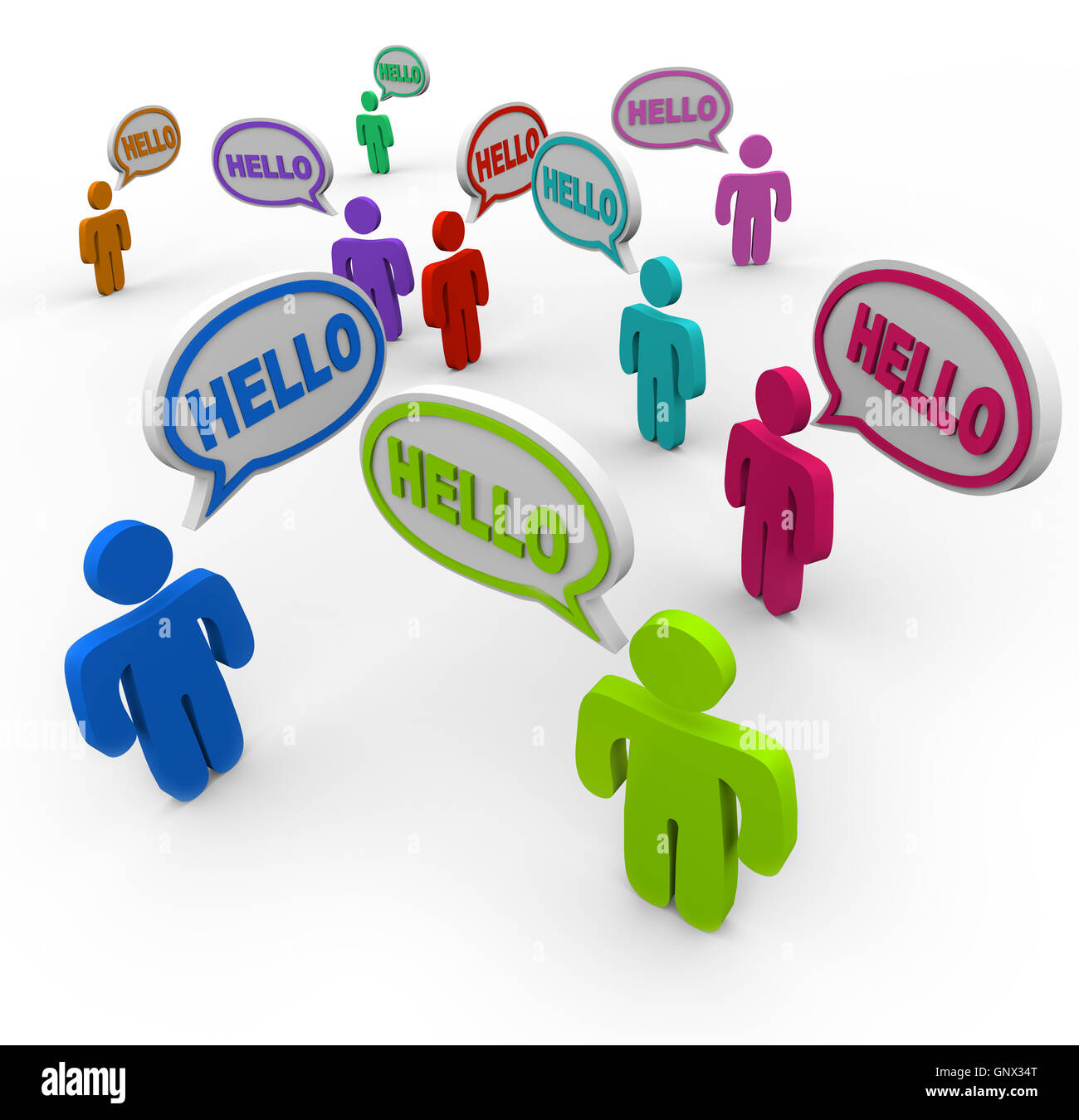 Diverse People Saying Hello Greeting In Speech Bubbles Stock Photo