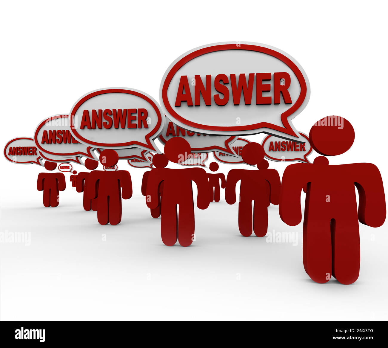 Answer People Crowd Speech Bubbles Sharing Answers - Stock Image