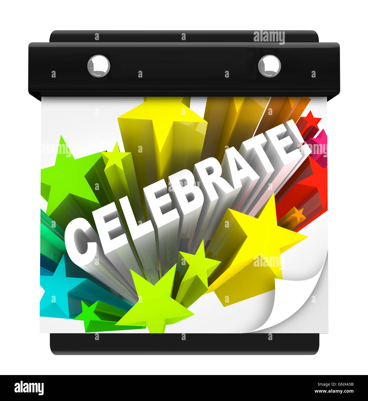 Celebrate Fireworks Word on Wall Calendar Vacation Holiday - Stock Image
